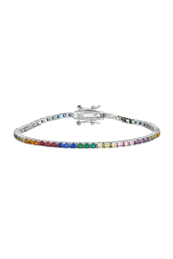 AMINA TENNIS BRACELET, RAINBOW, MINI