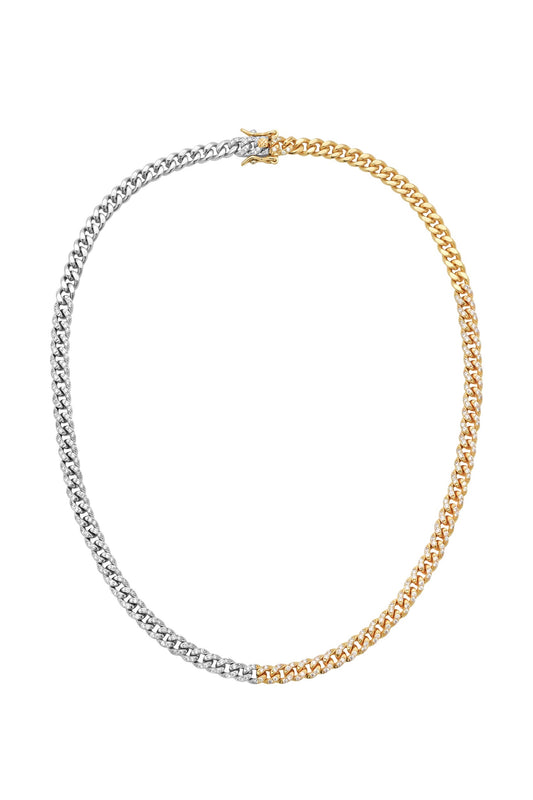 CELINE CURB LINK CHAIN, MIXED METAL, PAVE