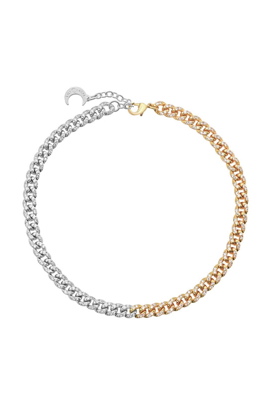 CELINE CURB LINK ANKLET, MIXED METAL, PAVE