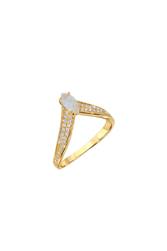 BELLA V RING PAVE | RAINBOW MOONSTONE