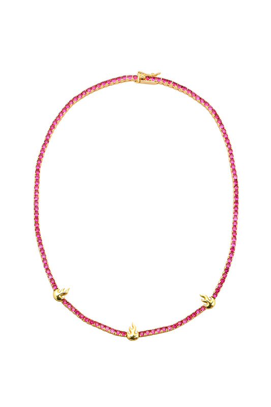 FLAME TENNIS NECKLACE, RUBY