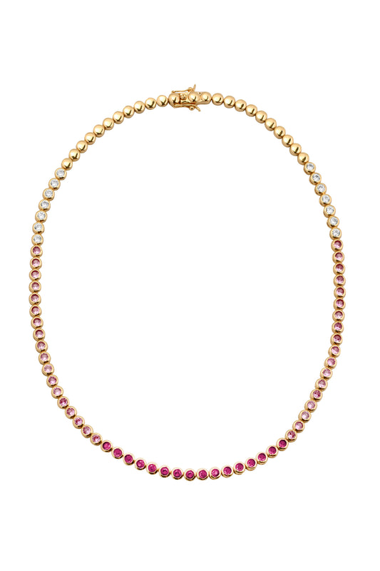 REESE TENNIS NECKLACE, RUBY, SHORT