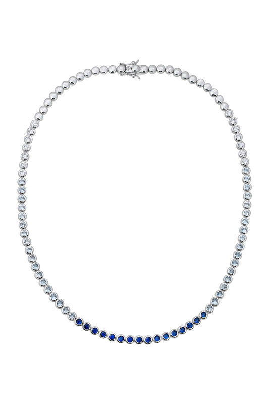 REESE TENNIS NECKLACE, SAPPHIRE, SHORT