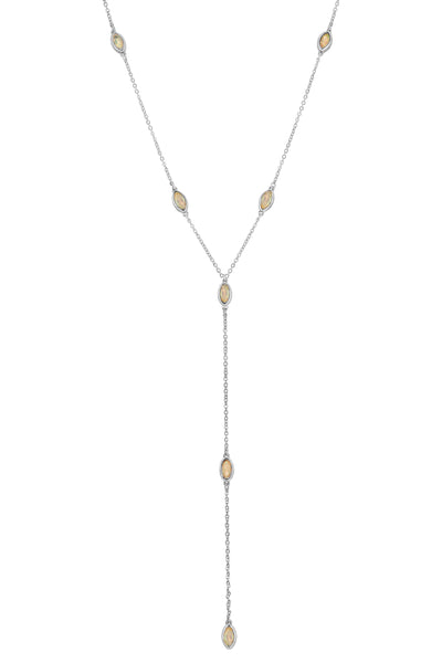 MARQUISE STONE LARIAT | SILVER