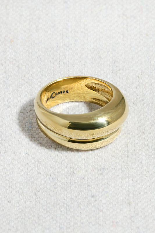ASYM DOUBLE BANDED RING| HIGH POLISHED BRASS