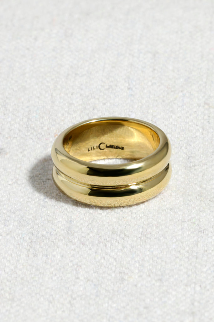 DOUBLE BANDED RING | HIGH POLISHED BRASS