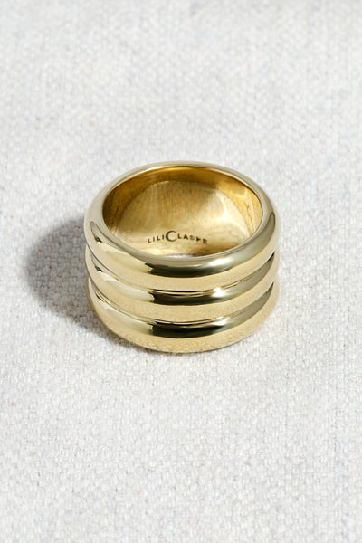 TRIPLE BANDED RING | HIGH POLISHED BRASS