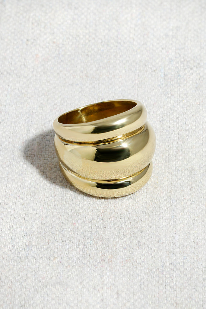 TRIPLE BANDED DOME RING | HIGH POLISHED BRASS