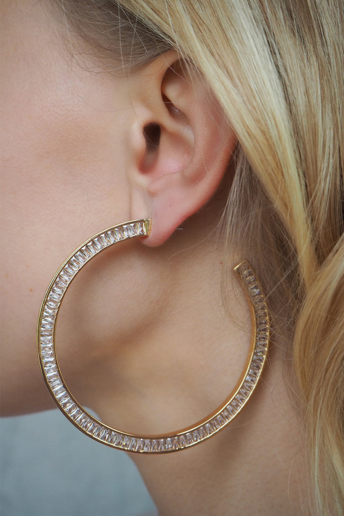 XL BAGUETTE HOOPS | GOLD