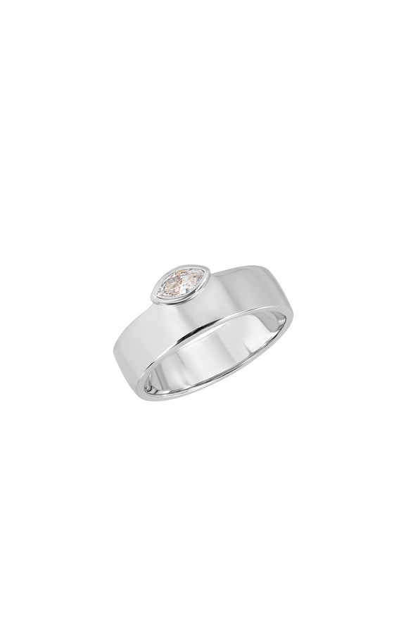 MARQUISE CIGAR RING, SMOOTH, WHITE-CZ