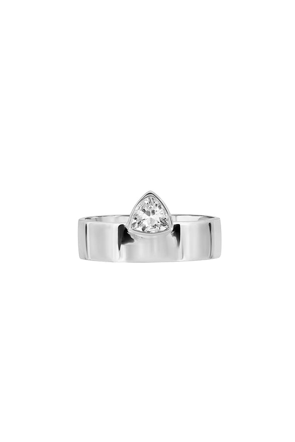 TRILLION CIGAR RING, SMOOTH, WHITE-CZ
