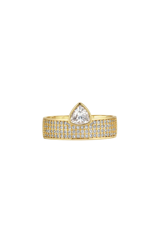 TRILLION CIGAR RING, PAVE, WHITE-CZ