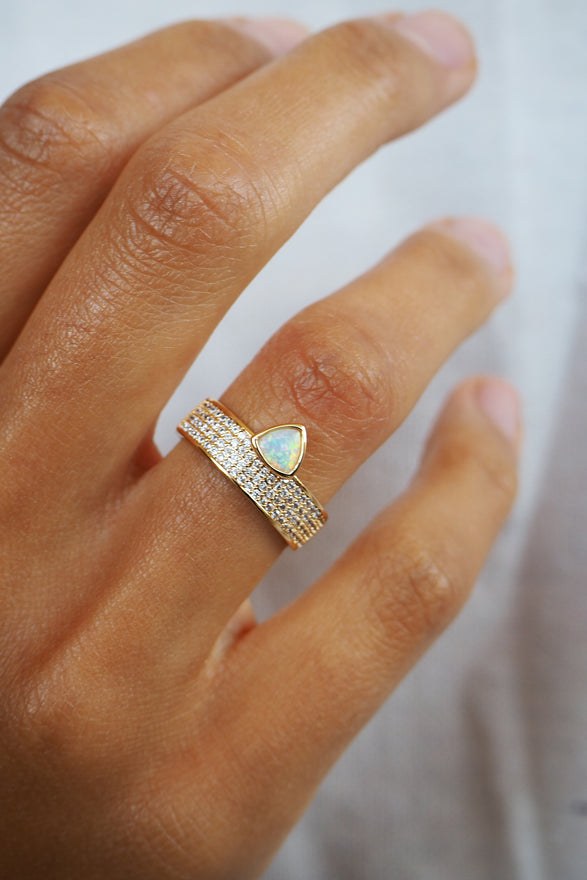 TRILLION CIGAR RING, PAVE, OPAL