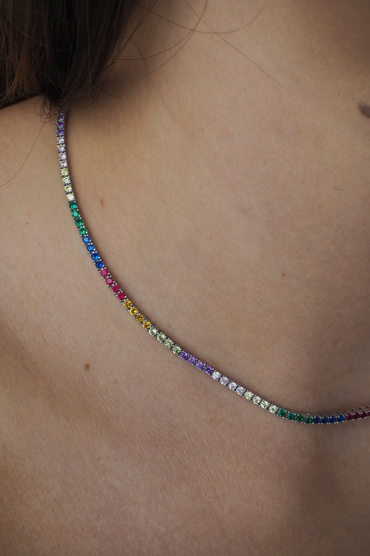 AMINA TENNIS NECKLACE, RAINBOW, MINI