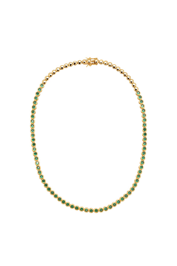 REESE TENNIS NECKLACE, EMERALD, SHORT