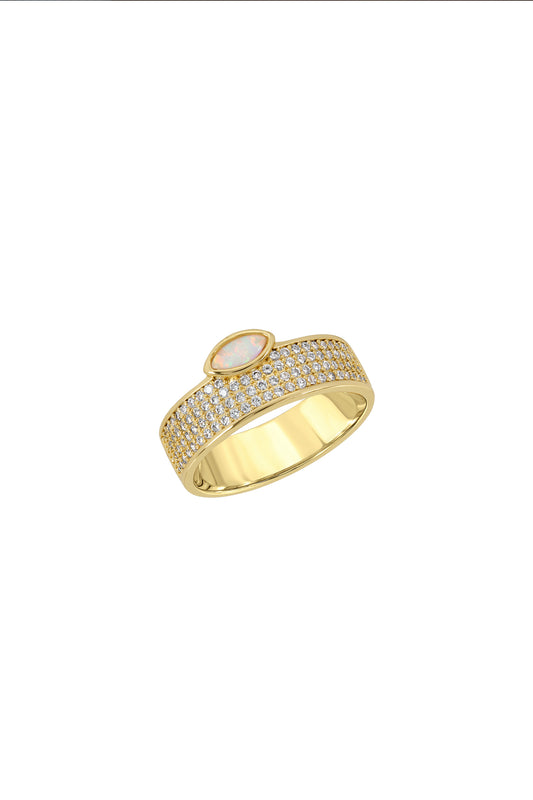 MARQUISE CIGAR RING, PAVE