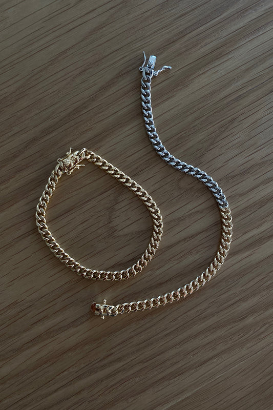 CELINE CURB LINK BRACELET, SMOOTH, MIXED METAL