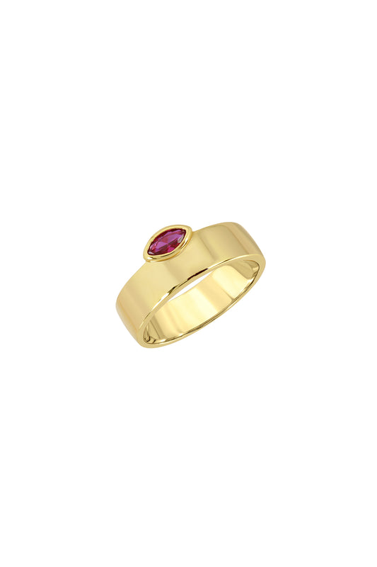 MARQUISE CIGAR RING, SMOOTH, RUBY