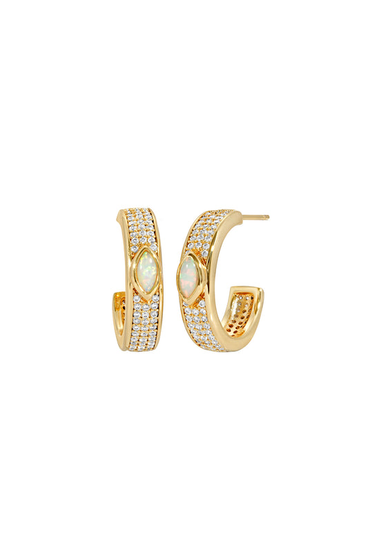 MARQUISE PAVE HOOPS, OPAL