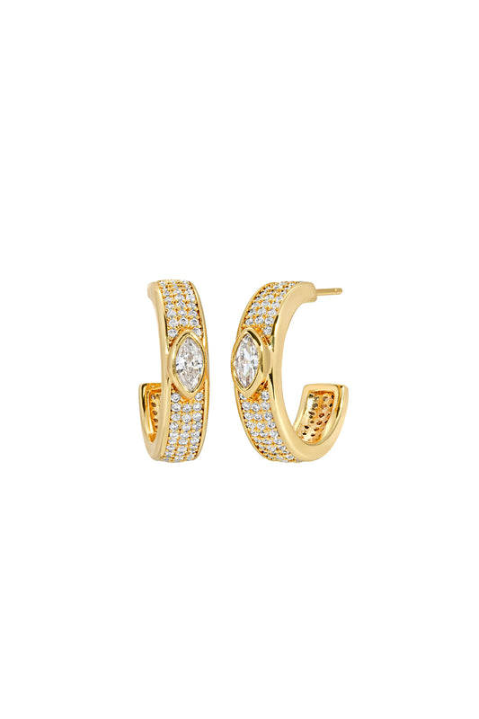 MARQUISE PAVE HOOPS, WHITE CZ