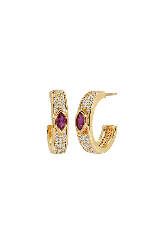 MARQUISE PAVE HOOPS, RUBY