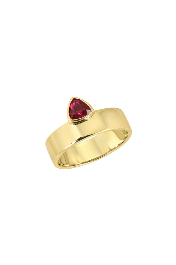 TRILLION CIGAR RING, SMOOTH, RUBY