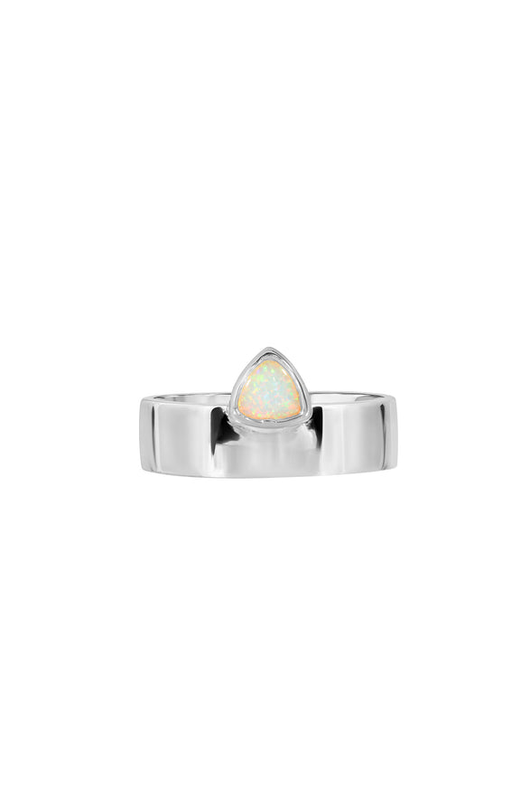 TRILLION CIGAR RING, SMOOTH, OPAL