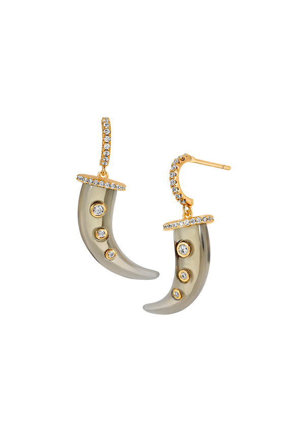 TALON HOOP EARRINGS | SMOKE QUARTZ