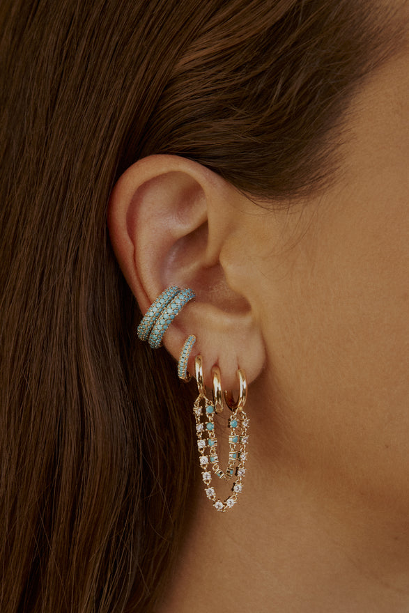 CAMI EAR CUFF SET, PAVE, TURQUOISE