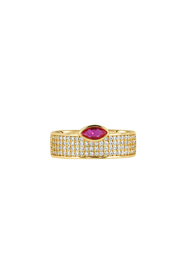 MARQUISE CIGAR RING, PAVE, RUBY
