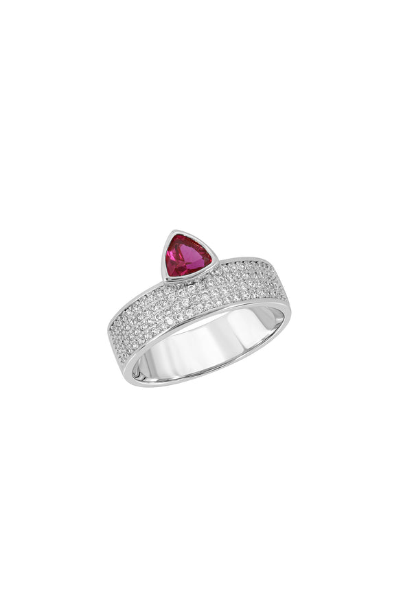 TRILLION CIGAR RING, PAVE, RUBY