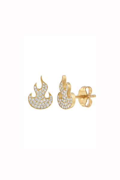 BABY FLAME EARRINGS | WHITE FLAME