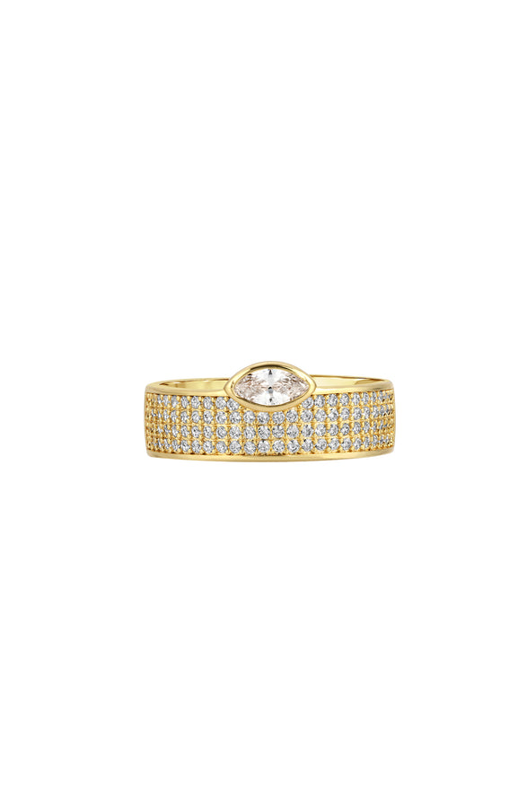 MARQUISE CIGAR RING, PAVE, WHITE-CZ