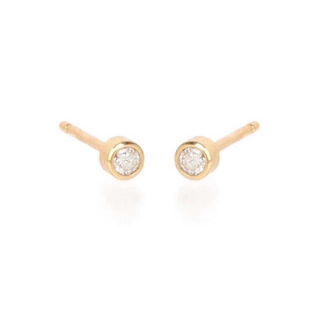 Zoe Chicco 14k Gold 5pt Bezel Set Diamond Studs