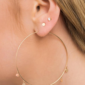 Zoe Chicco 14k Gold Round Disc Studs