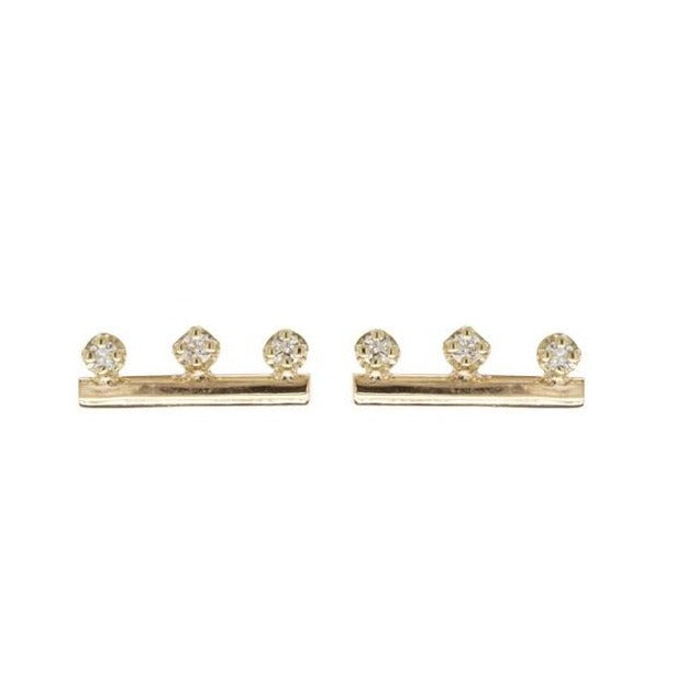 Zoe Chicco 14k Gold Round Wire 3 Diamond Studs