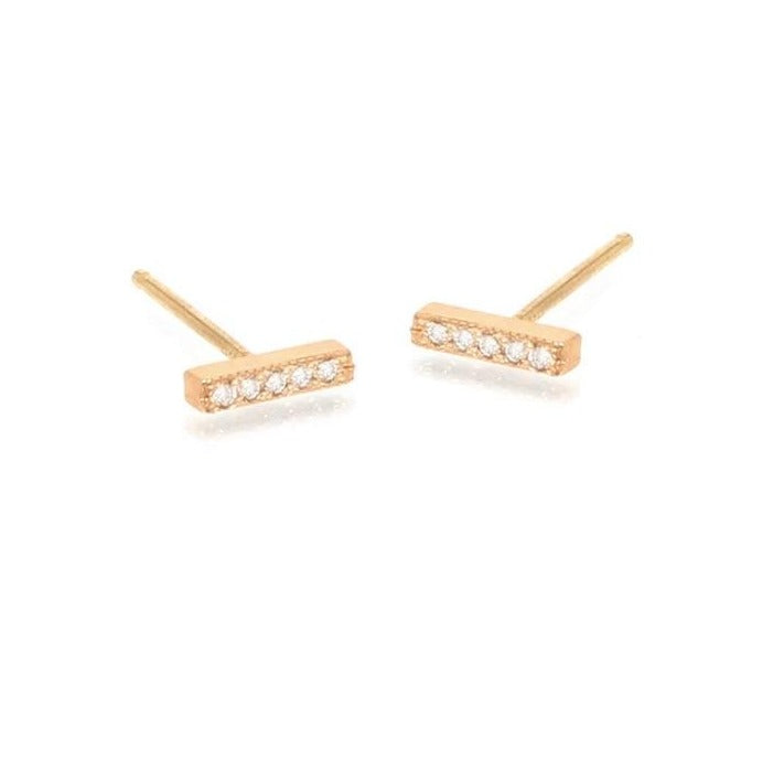 Zoe Chicco 14k Gold Pave Short Bar Studs