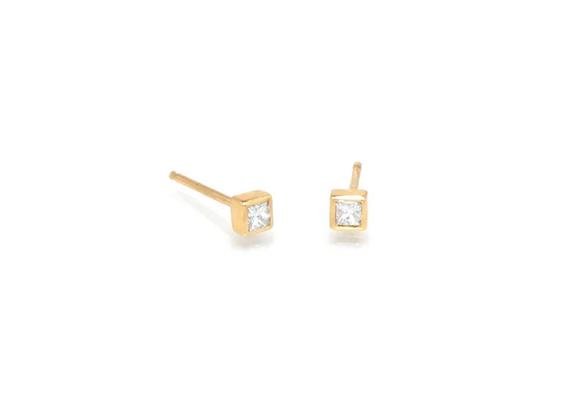 Zoe Chicco 14k Gold Small Princess Diamond Studs