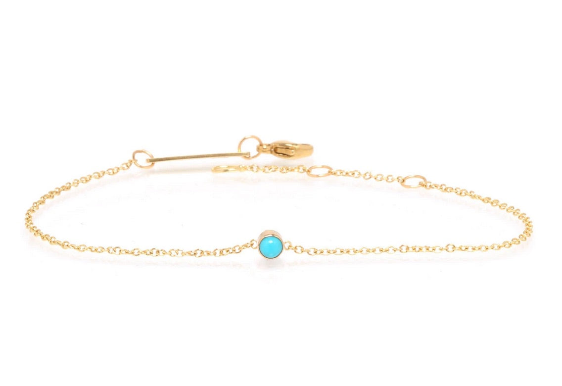 Zoe Chicco 14k Gold and Turquoise Bezel Set Bracelet