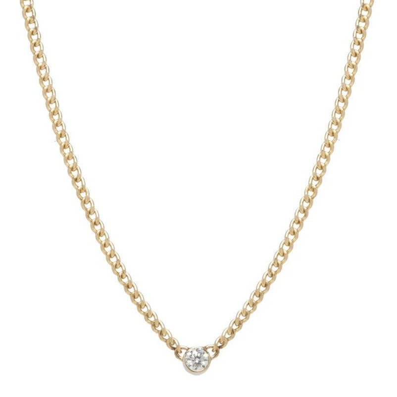Zoe Chicco 14k Bezel Set Diamond XS Curb Chain Necklace