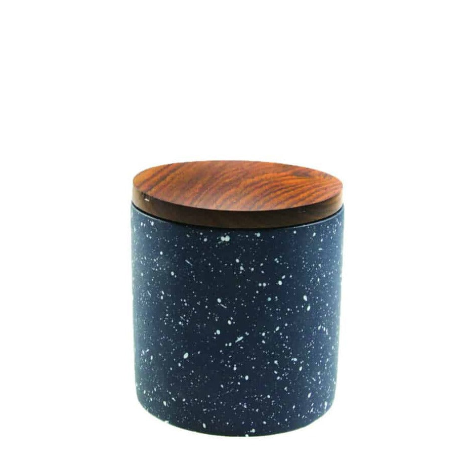 Speckled Cement Container With Wood Lid