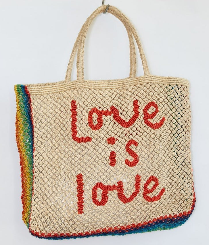 """Love Is Love"" Natural Jute Bag with Spice + Rainbow"