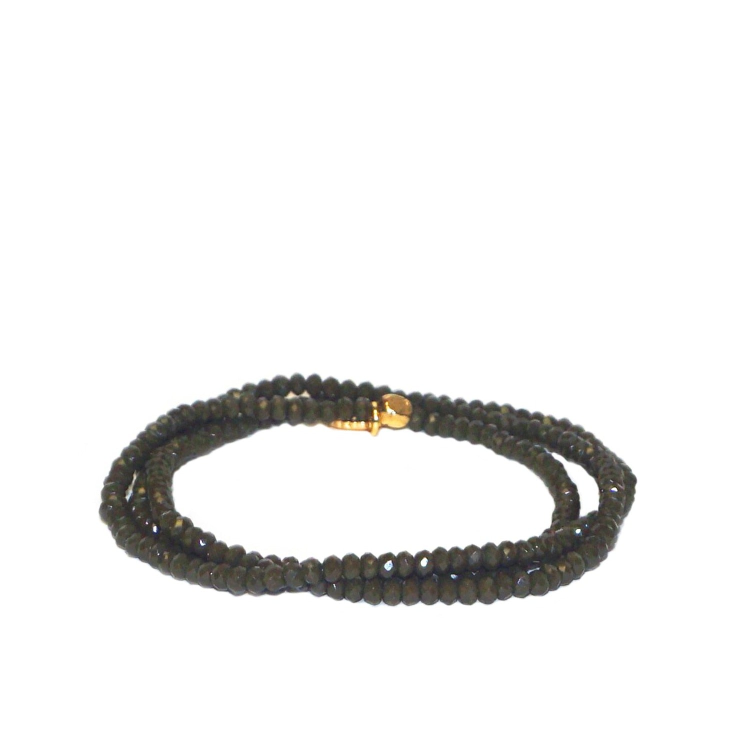 Crystal Beaded Stretch Bracelet - Olive
