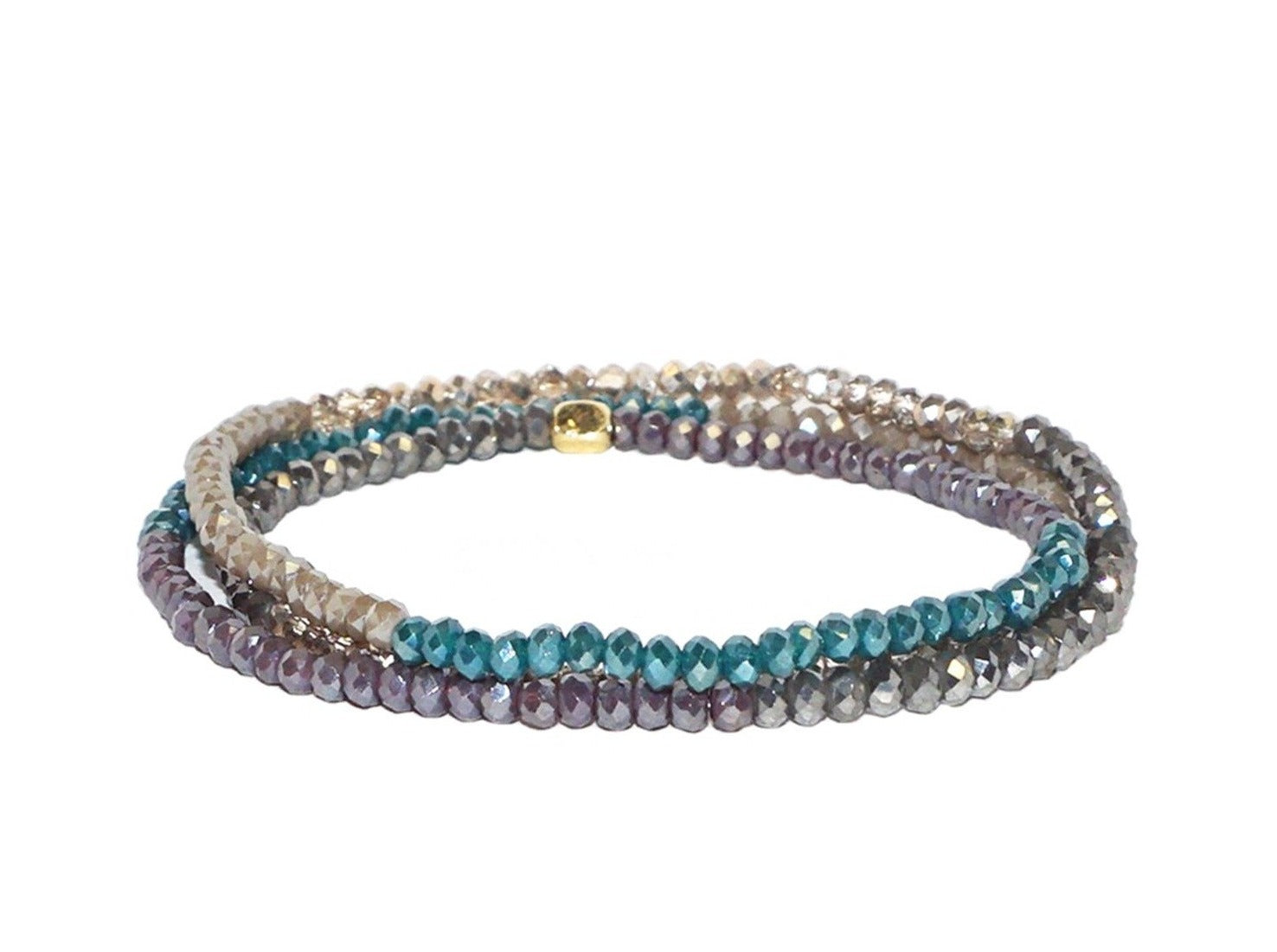 Crystal Beaded Stretch Bracelet - Teal