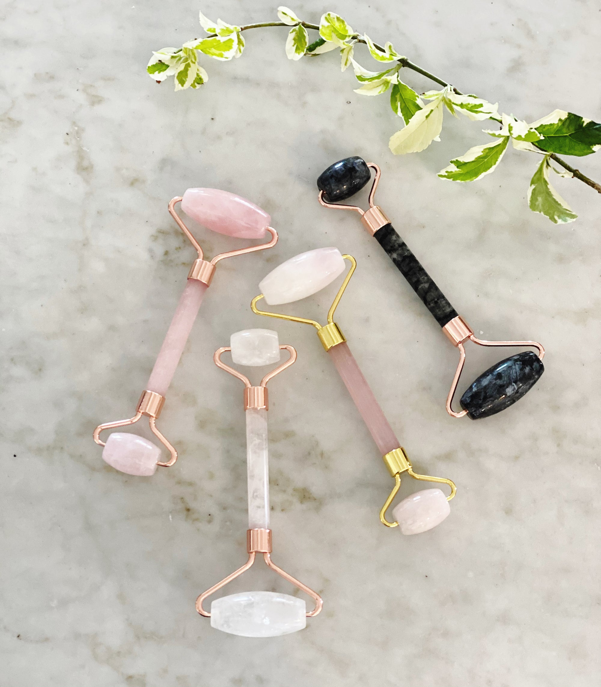 Crystal Quartz Stone Facial Roller (Rose Gold)