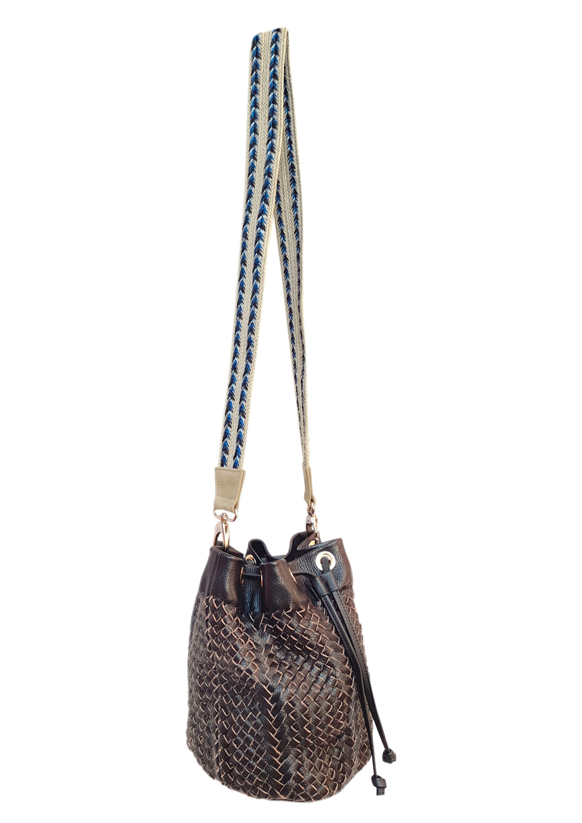 Angelo Woven Leather Bag - Chocolate