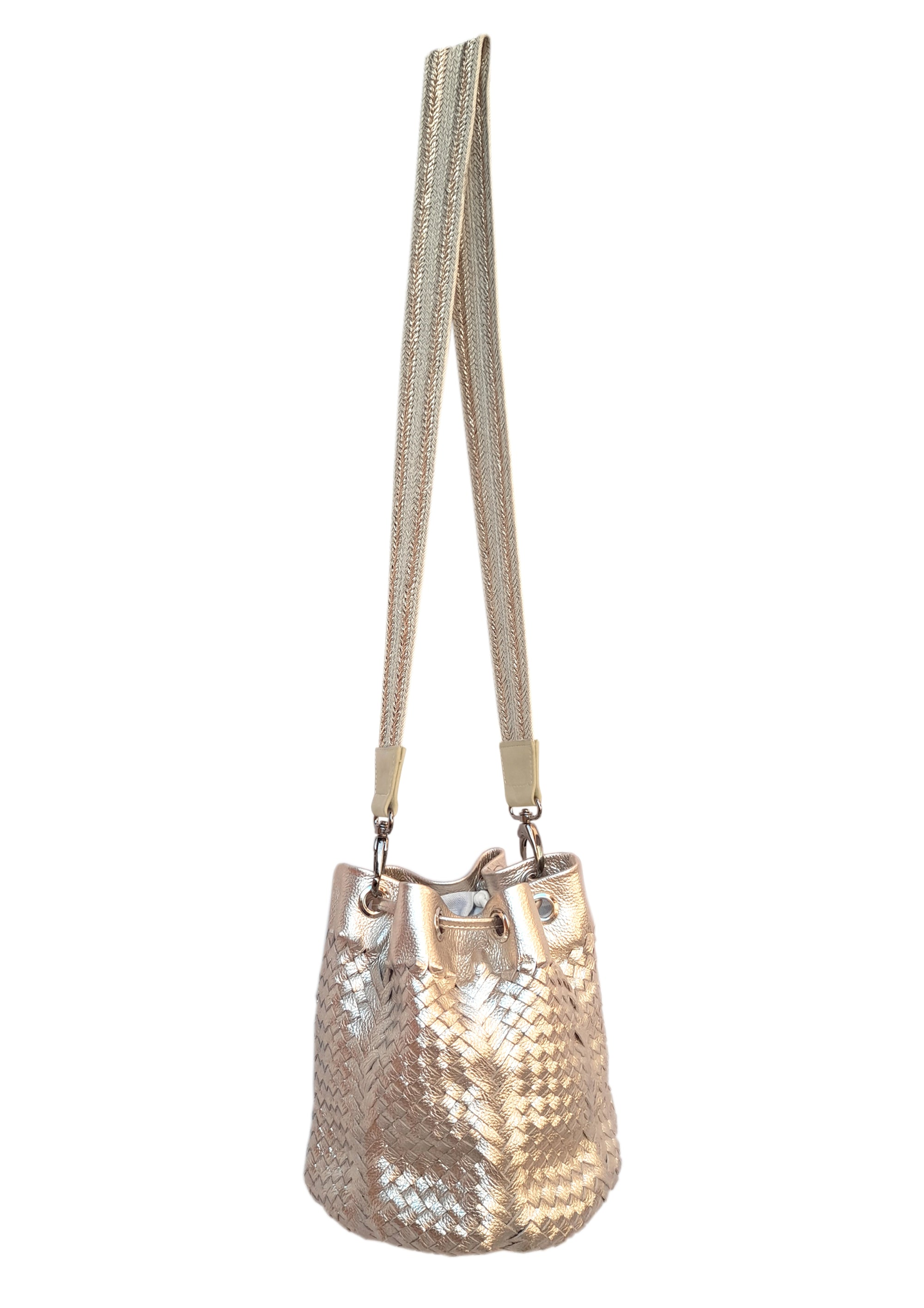 Angelo Woven Leather Bag - Gold