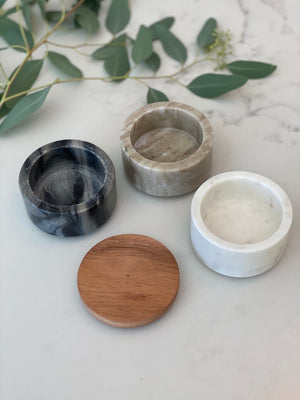 Marble Stacking Pinch Pots w/Acacia Lid