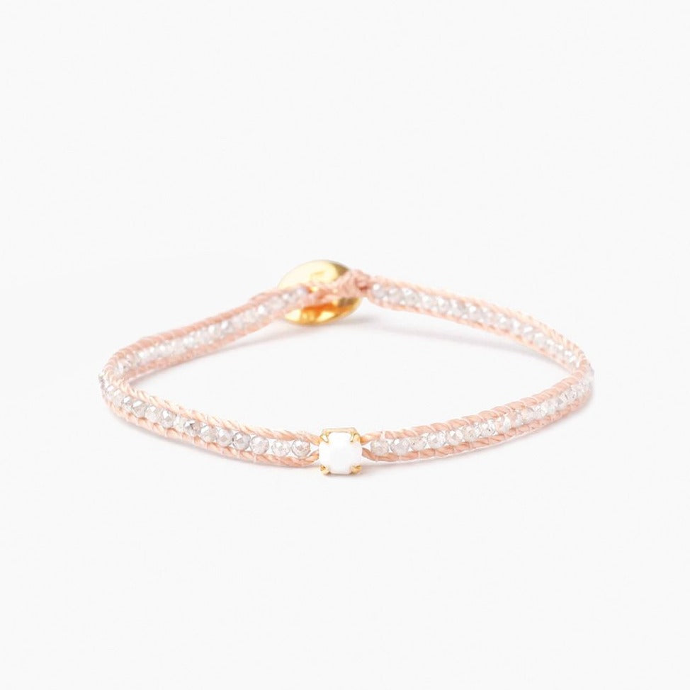Chan Luu White Mix Bracelet with White Stone
