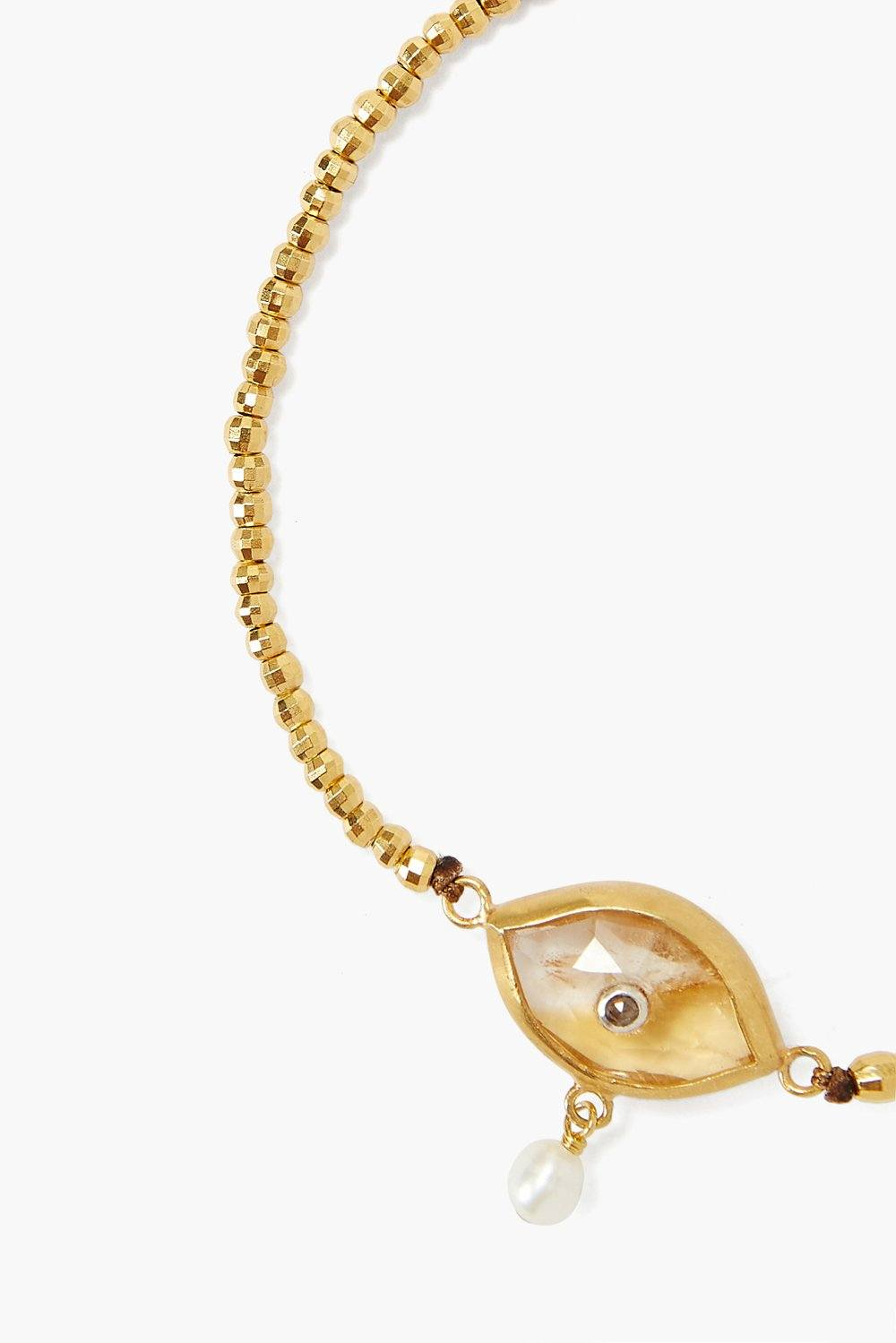 Chan Luu Pearl & Citrine Evil Eye With Champagne Diamond Bracelet